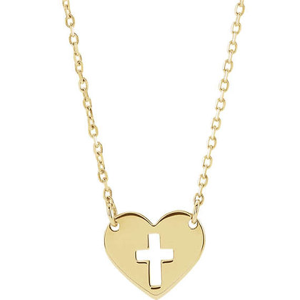 Any Color 14K Gold Pierced Cross Heart Necklace
