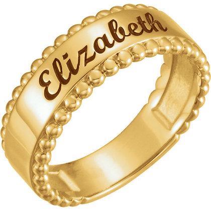Custom 14K Engravable Beaded Ring: 4 Metal Options