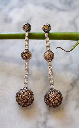 18K White Gold Cognac & White Diamond Earrings