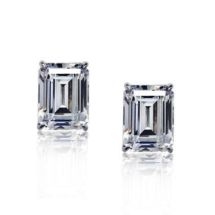 Any Color 14K Gold Emerald Cut CZ Stud Earrings