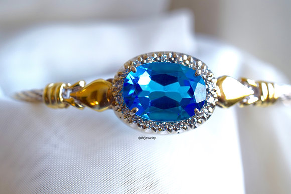 Oval Swiss Blue Topaz And Diamond Bangle