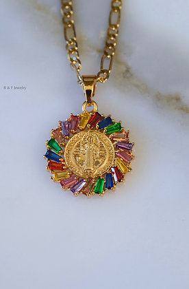 Gold Plated Rainbow Stone Saint Benedict Necklace