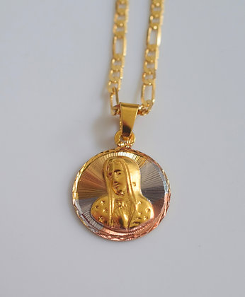 Tricolor Gold Plated Virgin Mary Necklace