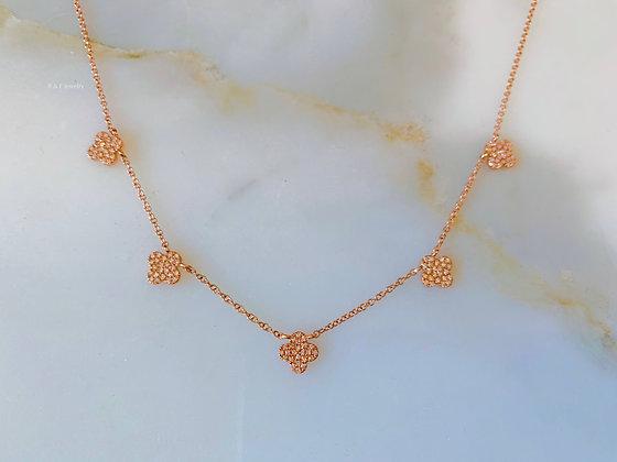14K Rose Gold Clover Necklace