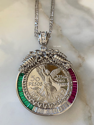 White Or Yellow Gold Dipped Mexican Peso Coin Necklace With Scorpion Detailing