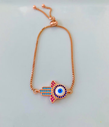 Rose Gold Plated Hamsa Eye Bracelet
