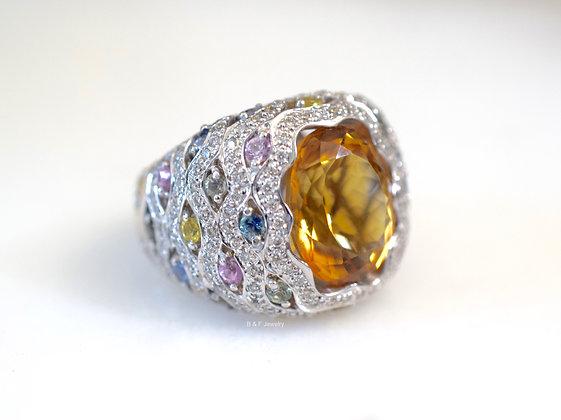 18K White Gold Citrine, Multi-Color Sapphire, And Diamond Ring