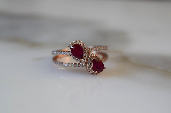 14K Rose Gold Pear Shape Ruby And Diamond Bypass Ring