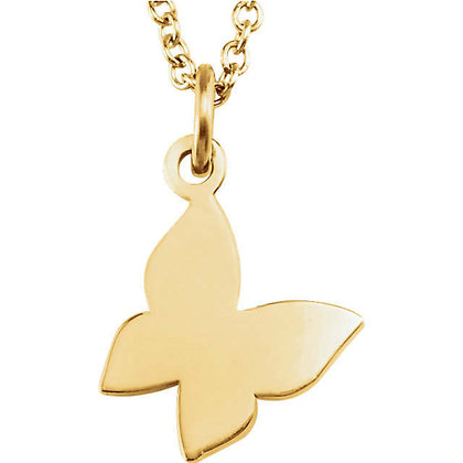 Any Color Solid 14K Gold Butterfly Necklace