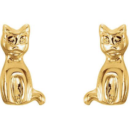 14K Gold Youth Cat Stud Earrings
