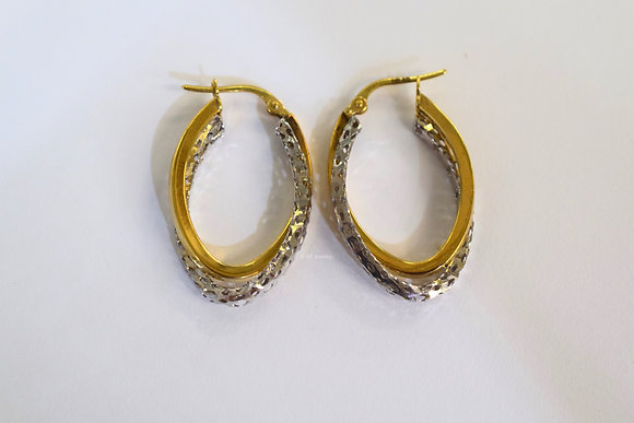 14K Bicolor Gold Hoop Earrings