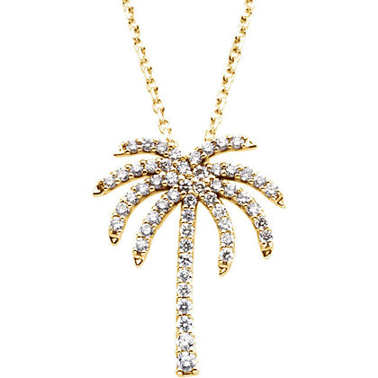 14K White Or Yellow Gold Diamond Palm Tree Necklace: Variations Available