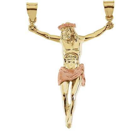 14K Yellow And Rose Gold Crucifix Necklace
