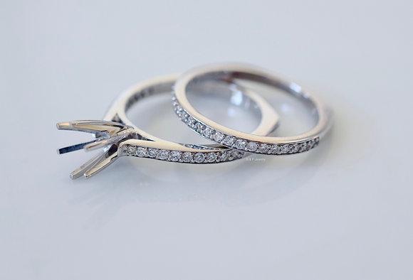 14K White Gold Diamond Bridal Set- 1000s Of Center Stones Available