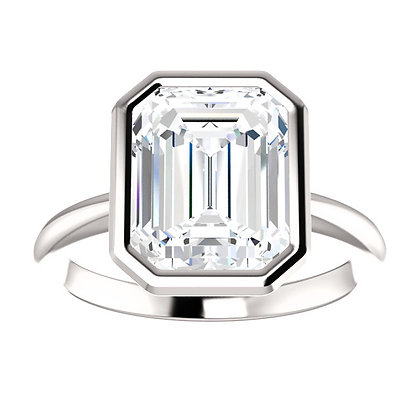Any Color 14K Gold Bezel Set Solitaire Emerald Cut White Topaz Ring