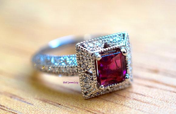 14K White Gold Princess Cut Pink Tourmaline And Diamond Ring