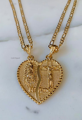 Gold Plated Religious Breakable Heart Pendant With Two Chains