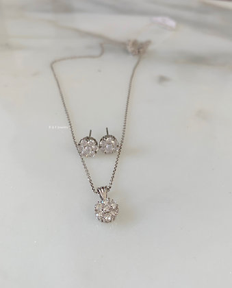 14K White Gold Floral Cluster Stud Earrings Or Necklace Available In Two Sizes
