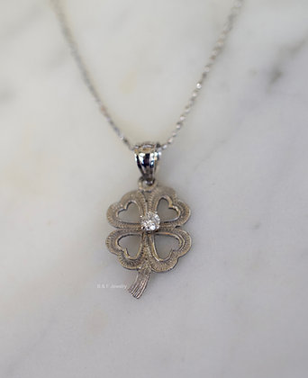Any Color 14K Gold Diamond Four-Leaf Clover Necklace