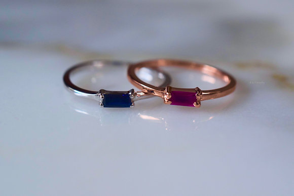 14K White Or Rose Gold Band With A Baguette Ruby Or Sapphire