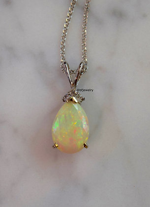 14K White Gold Opal And Diamond Necklace