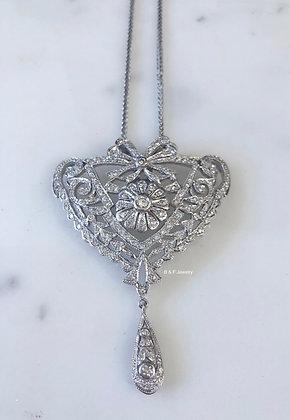 14K White Gold Antique Style Diamond Pendant