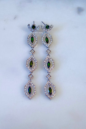 14K White Gold Green Tourmaline And Diamond Earrings- Has Matching Necklace/Ring