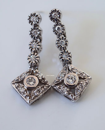 Vintage Style 14K White Gold Diamond Drop Earrings
