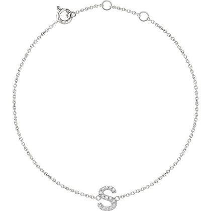 14K White Or Yellow Gold Diamond Initial Bracelet