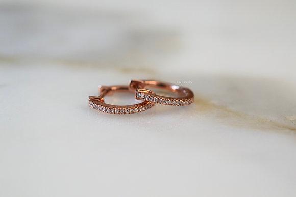 14K Rose Gold Diamond Huggie Earrings