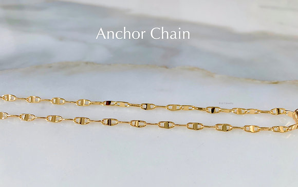Gold Plated Anchor Chain In Multiple Lengths And Widths