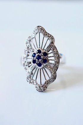 Vintage Style 14K White Gold Diamond And Sapphire Ring