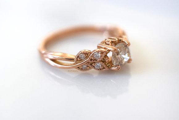 Vintage Style 14K Rose Gold Round Diamond Engagement Ring