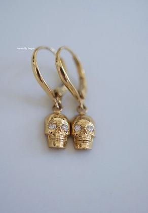 14K Yellow Gold Diamond Skull Earrings