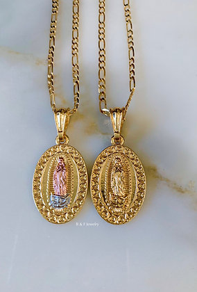 Oval Heart Virgin Mary Necklace In 2 Colors