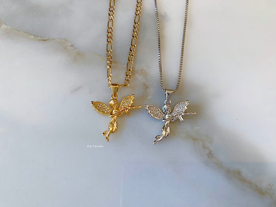 Yellow Or White Gold Plated Cupid Pendant With Multiple Chain Choices