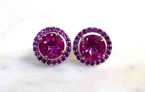 14K White Gold Pink Topaz And Pink Sapphire Halo Stud Earrings-  Has Necklace