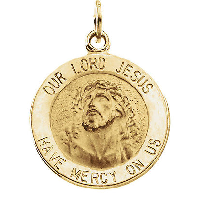 14K Yellow Gold Round Our Lord Jesus Medal Necklace