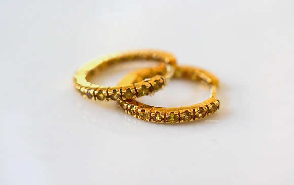14K Yellow Gold Yellow Sapphire Huggie Hoop Earrings