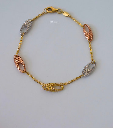 Tri-Color 14K Gold Bracelet