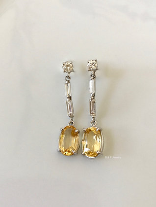 14K White Gold Imperial Topaz And Diamond Earrings