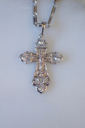 White Gold Plated Diamond Inspired Crucifix Necklace