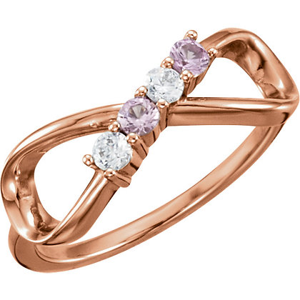 Any Color 14K Infinity Style 0 to 5 Stone Ring