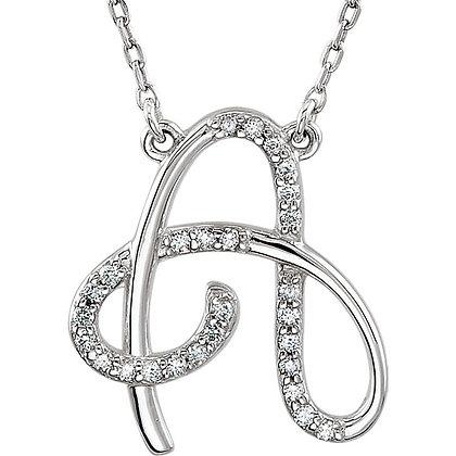Custom 14K White Gold Diamond Initial Necklace