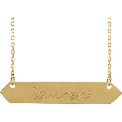 Any Color 14K Gold Engravable Bar Necklace
