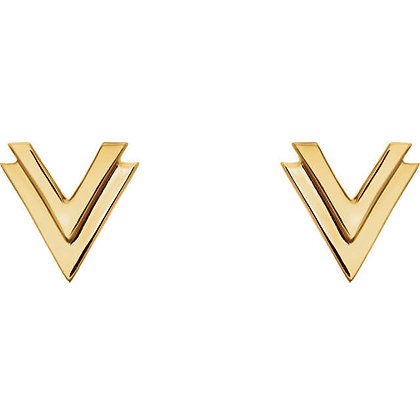 "Any Color 14K Double ""V"" Stud Earrings"