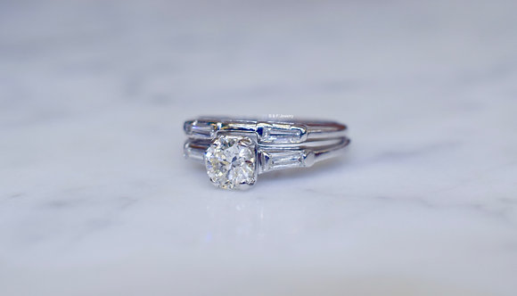 Round And Baguette Diamond Bridal Set