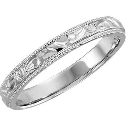 14K White Gold Hand Engraved Vintage Style Band