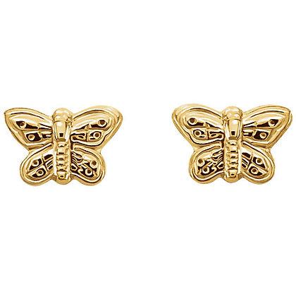 14K Gold Youth Butterfly Earrings