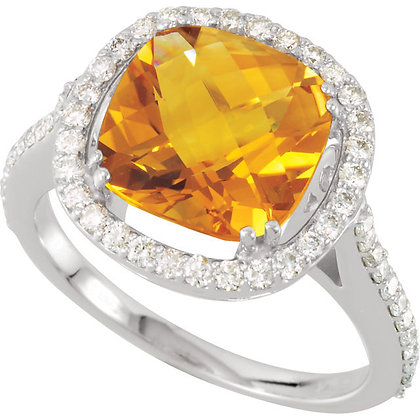 Checkerboard Cushion Cut Citrine And Diamond Ring